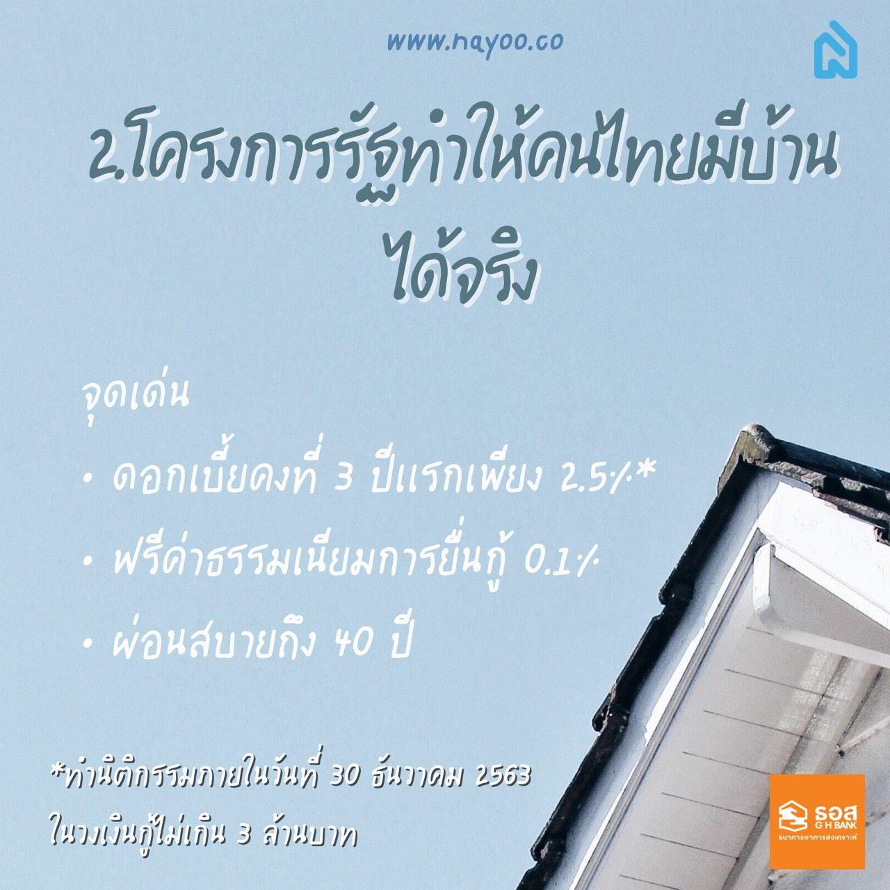 โครงการรัฐทำให้คนไทยมีบ้านได้จริง ธอส. ดอกเบี้ยถูก